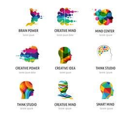 Fototapeta Brain, Creative mind, learning and design icons, logos. Man head, people symbols obraz