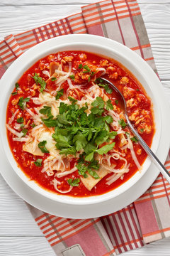 close-up of chicken lasagna soup in a bowl