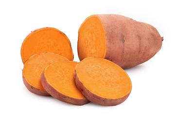 Sweet potato isolated on white background closeup Fototapete