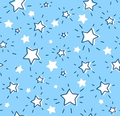 White stars, seamless pattern, vector. Contour, shining stars with rays on a light blue field. Imitation of a freehand drawing.
