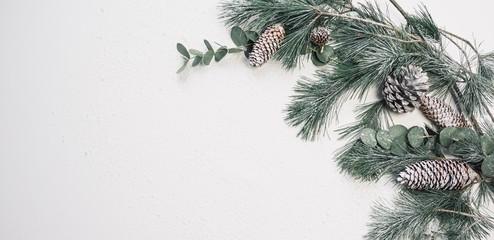 Weihnachten Hintergrund mit Kiefernzweigen und Zapfen