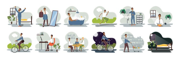 Set of everyday leisure and work activities performing by young man. Bundle of daily life scenes. Girl sleeping, eating, working, doing sports, grocery shopping. Flat cartoon vector illustration.