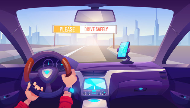 Driver hands on car steering wheel, auto interior with gps on dashboard panel and road view with drive safely banner through windshield, man driving automobile in city. Cartoon vector illustration