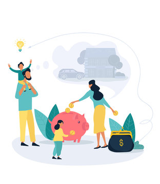 Family savings and personal finance strategy concept vector illustration with a wife putting coins in piggy bank and a wallet, while the husband play with kids and dreaming about property purchasing