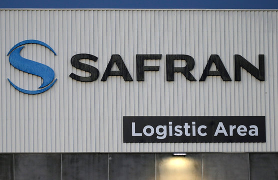The Safran logo is pictured at the company's logistic area in Colomiers, near Toulouse