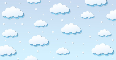 Festival pattern Abstract kawaii Clouds cartoon on blue sky with snow background. Concept for children and kindergartens or presentation and christmas day