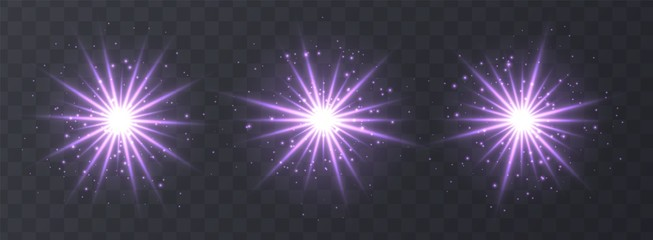 Light flares set isolated on transparent background. Purple lens flares, bokeh, sparkles, shining stars with rays collection. Glowing vector light effect. Vector illustration.
