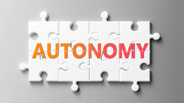 Autonomy complex like a puzzle - pictured as word Autonomy on a puzzle pieces to show that Autonomy can be difficult and needs cooperating pieces that fit together, 3d illustration