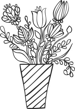 Bouquet of flowers in vase isolated on white. Flowers in vase for coloring book.
