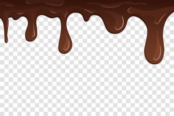 Dripping chocolate. Drips chocolate, isolated white transparent background. Melt fluid sweet dessert. Tasty splash liquid, cartoon design. Brown delicious cream. Flowing trickle. Vector illustration