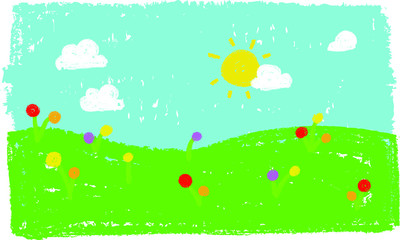 Wall Murals Green coral Wax crayon kid`s hand drawn grass hills with blue sky ,child`s drawn flowers kid`s painting spring and summer meadow. Vector pastel chalk background banner.