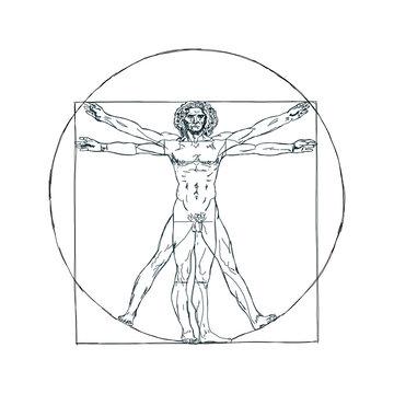 The Vitruvian man, Leonardo's man. Detailed drawing ink