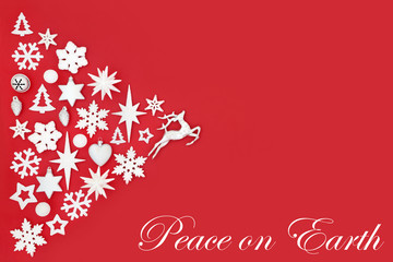 Printed roller blinds Roe Christmas peace on earth abstract background with white and silver tree decorations and symbols on red with copy space. Traditional theme for the festive season.