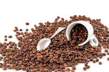 Cup of Coffee Beans Isolated on White Background, close-up