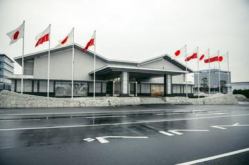 Tokyo, Japan - February 26, 2015: Polish and Japanese flags Haneda Airport in Tokyo city during visit of Polish president Bronislaw Komorowski