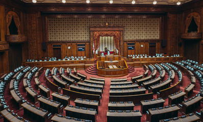Tokyo, Japan - February 27, 2015. View of House of Representatives chamber, lower house of Japanese National Diet