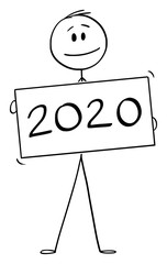 Vector cartoon stick figure drawing conceptual illustration of man or businessman holding year 2020 lettering sign.