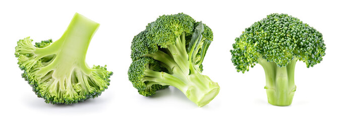 Printed kitchen splashbacks Fresh vegetables Broccoli isolated. Broccoli on white. Set of fresh broccoli.