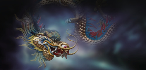 Imagine a picture of magic dragons floating on the air. And full of creative energy Used as a background and designed to place beautiful text