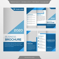 trifold brochure template design with minimalist style and modern concept