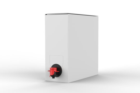 Blank Paper  Hard Box Wine Dispenser with a Tap For Branding. 3d render illustration.