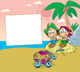 The vector illustration depicts children on the island playing pirates.