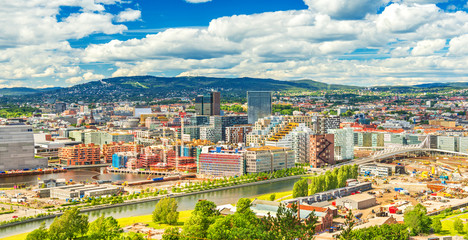 Beautiful cityscape of Oslo on a summer day, Norway Fototapete