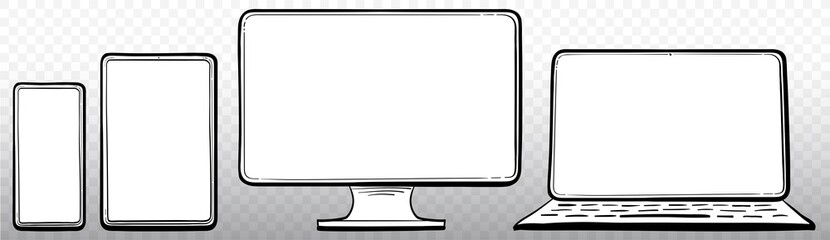 Laptop, Computer Monitor, Tablet PC and Mobile Phone Hand Drawn Vector Icon Set