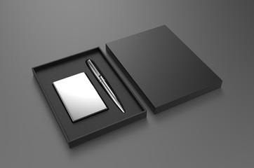 Vising card holder and pen gift set box, 3d render illustration.