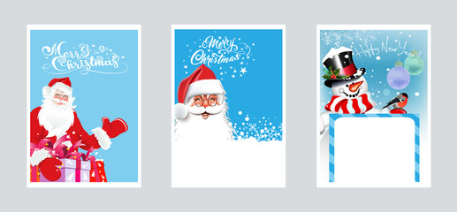 Vector Christmas cards. Three images with Santa Claus and snowman for Christmas and New Year for your design.