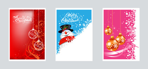 Vector Christmas cards for your design. Three images with Christmas balls and snowman for Christmas and New year decoration. Graphics design.