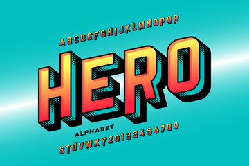 Comics style super hero font, alphabet letters and numbers