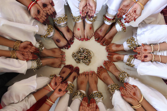 Kathak costumes with colored hands, legs and bells