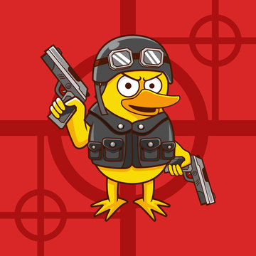 cartoon Duck Soldier wear helmet and two guns hunting