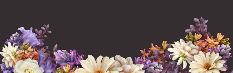 Floral banner, cover or header with purple tulip, dahlia, hyacinth, white roses isolated on dark background. Natural flowers wallpaper or greeting card with copy space.