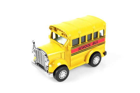 school bus toy isolated on white