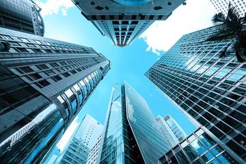 Modern skyscrapers shot with perspective Fotobehang