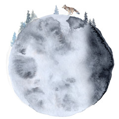 Watercolor wolf  Animal composition Hand drawn illustration