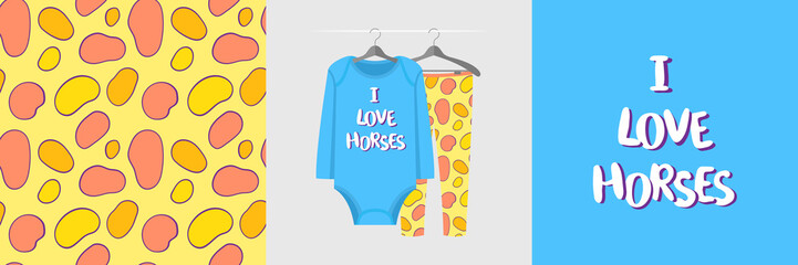 Wall Mural - Seamless pattern and illustration for kid with spots and text I love horses