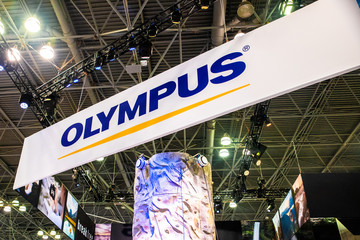 NEW YORK CITY - OCTOBER 24, 2019: View of the Olympus display at the 2019 PhotoPlus Expo in New York City,