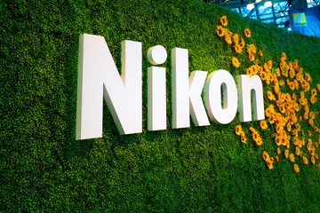 NEW YORK CITY - OCTOBER 24, 2019:  View of the Nikon Camera display at the 2019 PhotoPlus Expo in New York City,