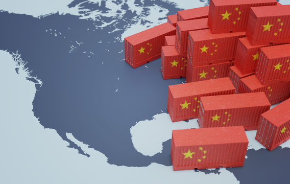 Chinese cargo containers on map of USA. Import of chenese goods concept. 3D rendered illustration.