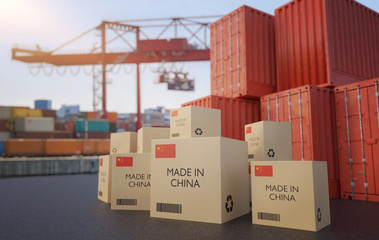 Many chinese cargo containers and cardboard boxes. Importing goods from China concept. 3D rendered illustration.