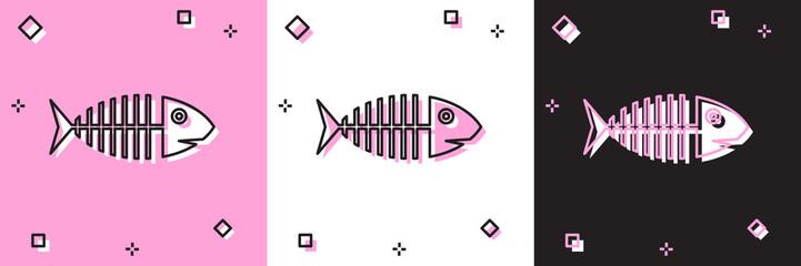 Set Fish skeleton icon isolated on pink and white, black background. Fish bone sign. Vector Illustration
