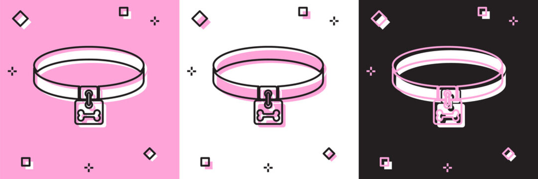 Set Dog collar with name tag and bone plaque icon isolated on pink and white, black background. Supplies for domestic animal. Cat and dog care. Pet dog chains. Vector Illustration