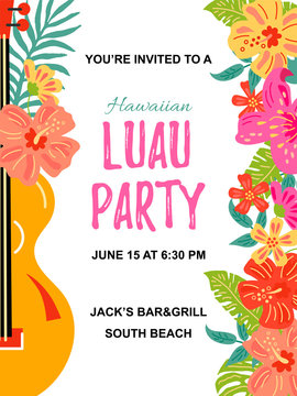 Guitar with jungle flowers, exotic leaves. Hawaiian Luau party invitation vector illustration. Hand drawn sketch style. Place for text. Template for vacation, poster, banner, flyer. Flat style design.