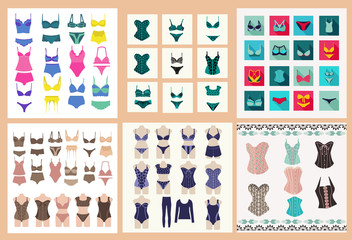 Collection of lingerie Panty and bra set symbol.