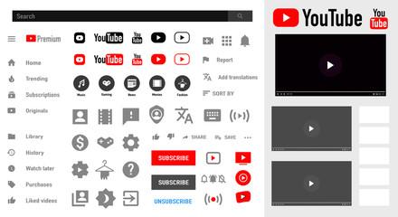 Youtube. Mobile ui social speech bubbles. video player user button, symbol, sign logo. Editorial vector. Vinnitsa, Ukraine - November 15, 2019