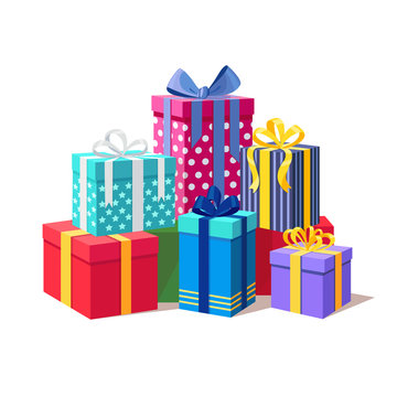 Big pile of gift box, present with ribbon, bow isolated on background. Stack of holiday presents. Christmas shopping concept. Surprise for anniversary, birthday, wedding. Vector cartoon design