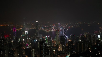 Fotomurales - Aerial view sunset at Victoria Harbor of Hong Kong